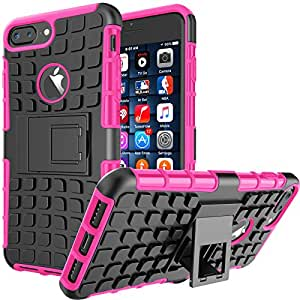 iPhone 8 Plus Case, iPhone 7 Plus Sturdy Case, Tekcoo [Ttyre] Shock Absorbing Dual Layer 2 in 1 Rugged Rubber Hybrid Hard Soft Drop Impact Resistant Protective Cover [Kickstand] Armor Cases 粉色