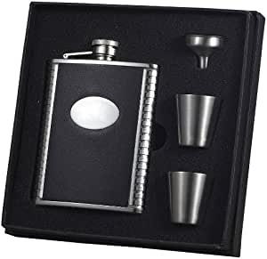 """Visol """"Tux"""" Leather Deluxe Flask Gift Set, 6-Ounce, Black"""