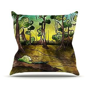 Kess InHouse Mandie Manzano 鳄鱼图案室内/室外抱枕 16 in. 绿色 MM3001AOP02