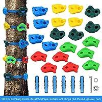 X XBEN 20 摇滚攀岩支架和 6 个棘轮带,适用于儿童/成人攀岩,带安装硬件,搭建攀岩墙把手,忍者树攀岩工具,适用于室内和室外丛林健身房操场