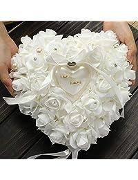 Zoternen 结婚戒指枕,浪漫心形戒指盒枕垫带丝带珍珠婚礼礼品