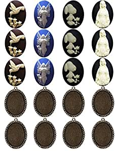 20 件珠宝制作套件手工凸圆形 Cameo 工艺品椭圆形金属空白框适合 40x30mm G 20 pieces 40x30mm ysa10367