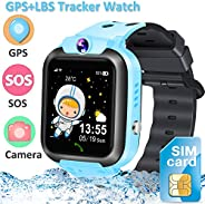 [提供 2G SIM 卡] 儿童智能手表手机,GPS+LBS 跟踪器位置智能手表,防水,男孩女孩学习玩具,圣诞生日礼物触摸屏腕表 SOS 呼叫游戏闹钟