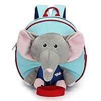NKTM 幼儿背包,带*带牵引零食婴儿包,适合儿童男婴 1-3 岁 大象灰