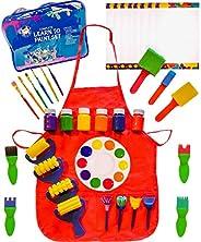 儿童艺术套件 - 儿童艺术用品 - 48 件套绘画刷,赠送的漆罩,手指画,调色板,泡沫纹理刷,纸 - *可洗画料 - 学习颜料套装