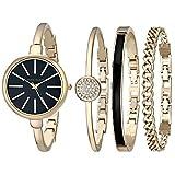 Anne Klein安妮·克莱恩女士AK/1470手镯手表和表带套装 金色/黑色