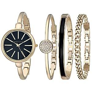 Anne Klein 安妮克莱因 女士 石英手表 带黑色表盘模拟显示屏和金色不锈钢腕带 AK/1470GBST