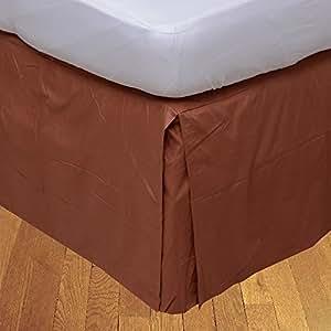 Relaxare 300TC * 埃及长绒棉 1 件工字褶床裙纯色(裙深:58.42 cm)- 超柔软透气优质面料 Brick Red Solid 全 XL RE31PCBPBS23INQBRRESO-FXLIN