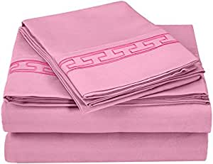 Luxor Treasures 超柔软,* 磨毛超细纤维,防皱,6 件套床单套装灰色刺绣礼盒 粉红色 Queen MF3000QNSH REPK
