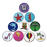 PINMEI Lot of 10 Golf Ball Markers Assorted Patterns, Soft Enamel Technique, Dia 24.4MM