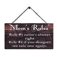 乡村风格木标志壁挂装饰复古风格 Mom's Rules Motto Sign 尺寸 29.21cm x 15.24cm