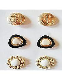 金色和白色树脂时尚纽扣耳环(3 对装)