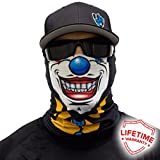 Twisted Clown SA 公司面罩/环围巾/Bandana/Balaclava。 钓鱼面罩 ** 多种设计可供选择 ** 真正的多功能头饰/围巾。 SPF 40。 Outdoor Activity Face Mask (钓鱼、跑步、骑自行车、摩托车、散步、骑行等)