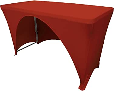 LA Linen Open Back Spandex Tablecloth for a 4-Foot Rectangular Table, 48 by 30 by 30-Inch, Red