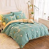 蒙丽菲纯棉四件套春秋全棉被套床单儿童宿舍三件套1.5m1.8米2.0床奔跑吧小鹿蓝-全棉四件套 1.5m(5英尺)床