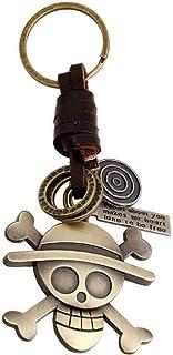 Jude Jewelers 复古皮革青铜哥特式骷髅鸡尾酒派对万圣节骑行者钥匙链吊坠