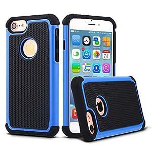 iPhone 7 手机壳,外壳配件掉落保护,双层防震硅胶塑料橡胶抗冲击坚固纤薄硬壳适用于 Apple iPhone 700312 蓝色