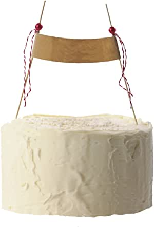Simply Baked Kraft Banner Cake Decoration, Customize Your Message, Wood picks with Red Bead and Ribbon Accents