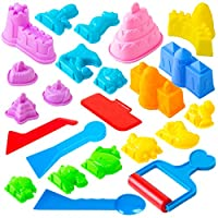 Kinetic Sand Molds and Tools Kit - 23 Piece Kinetic Sand Molds + 5 Sand Art Tools for Magic Sand Brookstone Moon Dough and More
