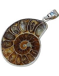天然菊石化石吊坠银饰女士包裹魅力手工制作海螺化石礼品 55 克拉