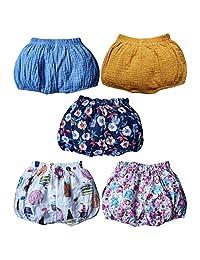 5 件装女婴男孩棉麻混纺可爱灯笼裤夏季中性款婴儿花卉下装