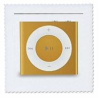 3dRose Florene Music - 金色和白色 Ipod 播放器 - 方形被子 白色 10x10 inch quilt square qs_38167_1