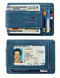 NapaWalli 真皮磁性前袋钱夹钱包 RFID 屏蔽