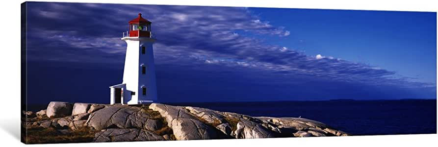 """iCanvasART 1 Piece Low Angle View Of A Lighthouse, Peggy's Cove, Nova Scotia, Canada Canvas Print by Panoramic Images, 36 x 12""""/0.75"""" Deep"""
