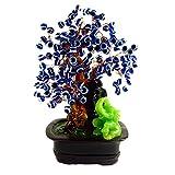蓝色邪眼珠 Bonsai 树装饰带幸运大象保护(配有一个Betterdecor 礼品袋)
