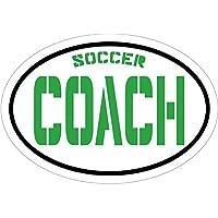 绿色足球教练乙烯基窗户贴花 - 足球保险杠贴纸 - 完美的青年体育礼物