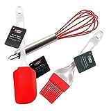 红色硅胶烘焙刷,糕点刷,烧烤刷,可用洗碗机清洁 - 柔软有弹性的刷毛,耐高温达 428℃。 Ai-De-Chef (红色) 红色 baster + whisk + spatula BASTER-KIT