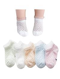 Ehdching 5 双婴儿袜夏季透气棉质网状细蕾丝袜子适合婴儿女婴