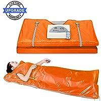Lofan 便携式红外线桑拿毯,数码远红外线热桑拿毯,2 区,个人桑拿在家放松,*设计(*版橙色带拉伸手设计)