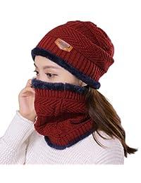 hindawi 女式慵懒编织帽冬季帽子针织温暖 SNOW 滑雪瓜皮帽