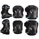 儿童成人 6 件运动防护装备套装可调节反光自行车滚轮滑护膝护腕垫*支撑垫套装适用于滑板,BMX 自行车,内联滑,滑板车