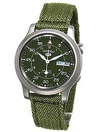 Seiko 男士 SNK805 Seiko 5 绿色帆布表带不锈钢机械手表