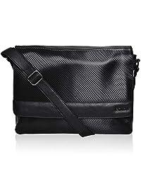 男式真皮笔记本电脑邮差包 - 高级办公公文包 14 英寸 MacBook 专业大学男式女式侧袋 One_Size 黑色碳纤维