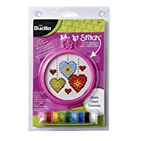 "BUCILLA Plaid Mini Counted My 1st Stitch Hearts Cross Stitch, 5-1/8 by 7-5/8"""