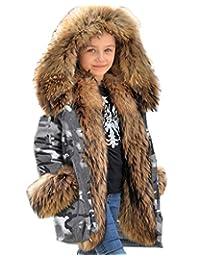 Aox 中性儿童休闲冬季人造毛连帽外套保暖加厚迷彩派克夹克户外风衣,适合男孩