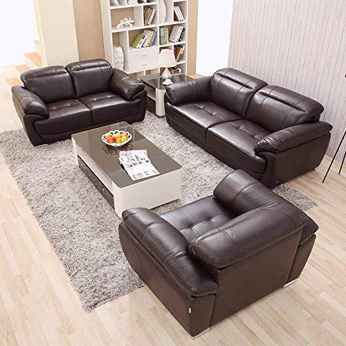 下单赠价值998元真皮圆凳1个左右 沙发 头层牛皮沙发 客厅U型沙发 真皮沙发123组合DZY2503 三人位 深咖色
