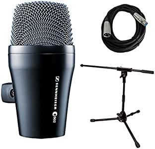Sennheiser 森海塞尔 E902 Kick Drum Bass Dynamic Microphone with Stand and Cable Bundle