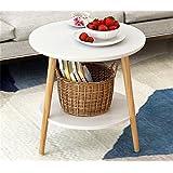 (北欧简约)Yandex 小圆茶几床头桌沙发边桌小圆桌小茶几现代简约角几边几创意小桌子 (50cm, 白色)