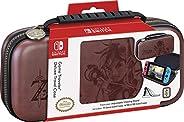 豪华 Zelda Link 旅行包,优质硬壳用 Koskin 鞍状皮革压花《野生艺术之口》的 Zelda Breath Of The Wild Art ,2 个游戏保护套,棕色 - 任天堂开关