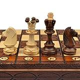 手工欧洲木质国际象棋套装,40.64cm 棋盘和手工雕刻的象棋