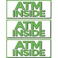 ATM Inside 乙烯基标志,12.7 cm x 30.48cm 贴纸贴花,3 件装,零售商店标志