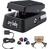 Jim Dunlop CBM95 Cry Baby Mini Wah Pedal BUNDLED 配有 2 包Blucoil 踏板补丁,电源纤薄交流/直流适配器,适用于 9 伏直流 670mA 和Celluloid 吉他拨片