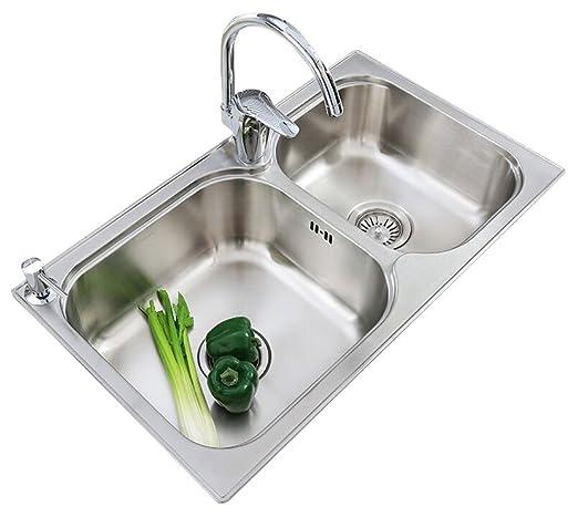科勒/KOHLER  丽斯780mm厨房双水槽套餐(含凯迪厨房龙头) K-72829T-2S-NA+K-668T-B-CP