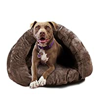 PLS Birdsong The Original Cuddle Pet Bed 狗窝 带帽宠物床 舒适 适用于猫和幼犬 棕色 X大码