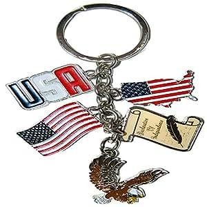 美国城市和美国金属质量钥匙链 America