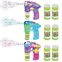 ArtCreativity 蓝色、粉红色和紫色泡泡泡机套装,带 LED 发光和声音,包含 7 英寸泡枪和 6 瓶泡泡液补充装,派对礼物 - 含电池